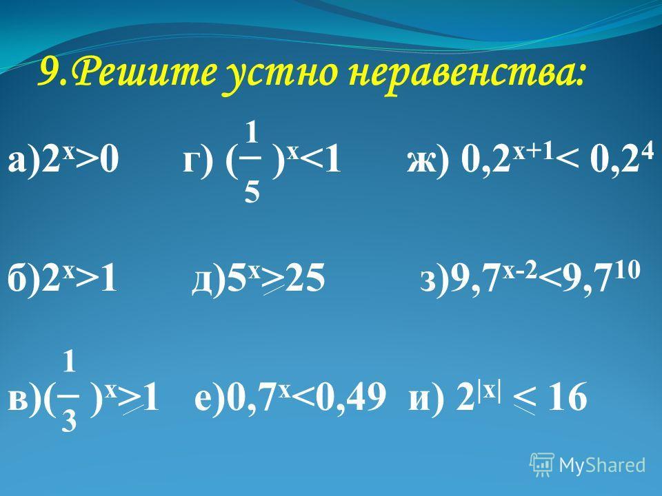 9. Решите устно неравенства: а)2 х >0 г) ( ) х 1 д)5 х >25 з)9,7 х-2 1 е)0,7 х
