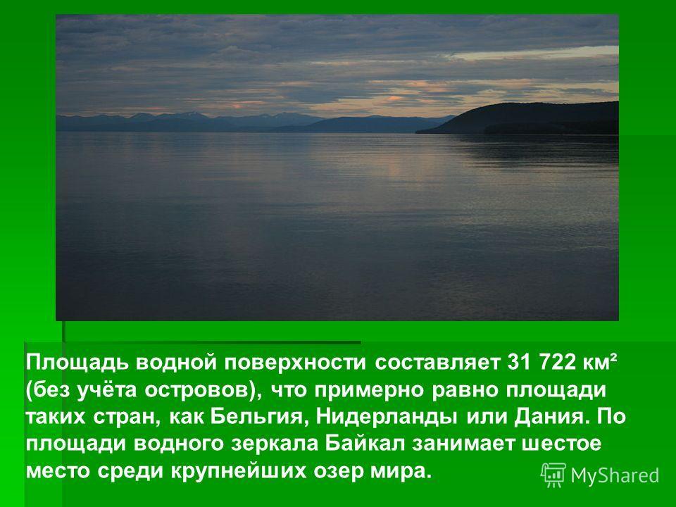 Площадь водной поверхности составляет 31 722 км² (без учёта островов), что примерно равно площади таких стран, как Бельгия, Нидерланды или Дания. По площади водного зеркала Байкал занимает шестое место среди крупнейших озер мира.