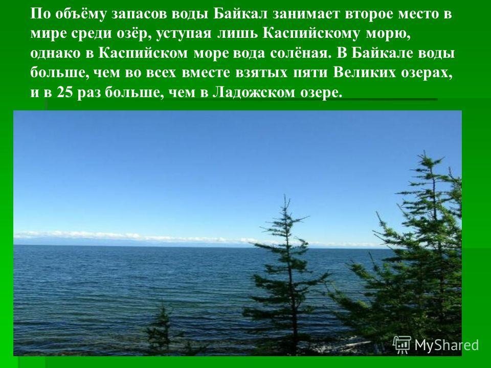 По объёму запасов воды Байкал занимает второе место в мире среди озёр, уступая лишь Каспийскому морю, однако в Каспийском море вода солёная. В Байкале воды больше, чем во всех вместе взятых пяти Великих озерах, и в 25 раз больше, чем в Ладожском озер