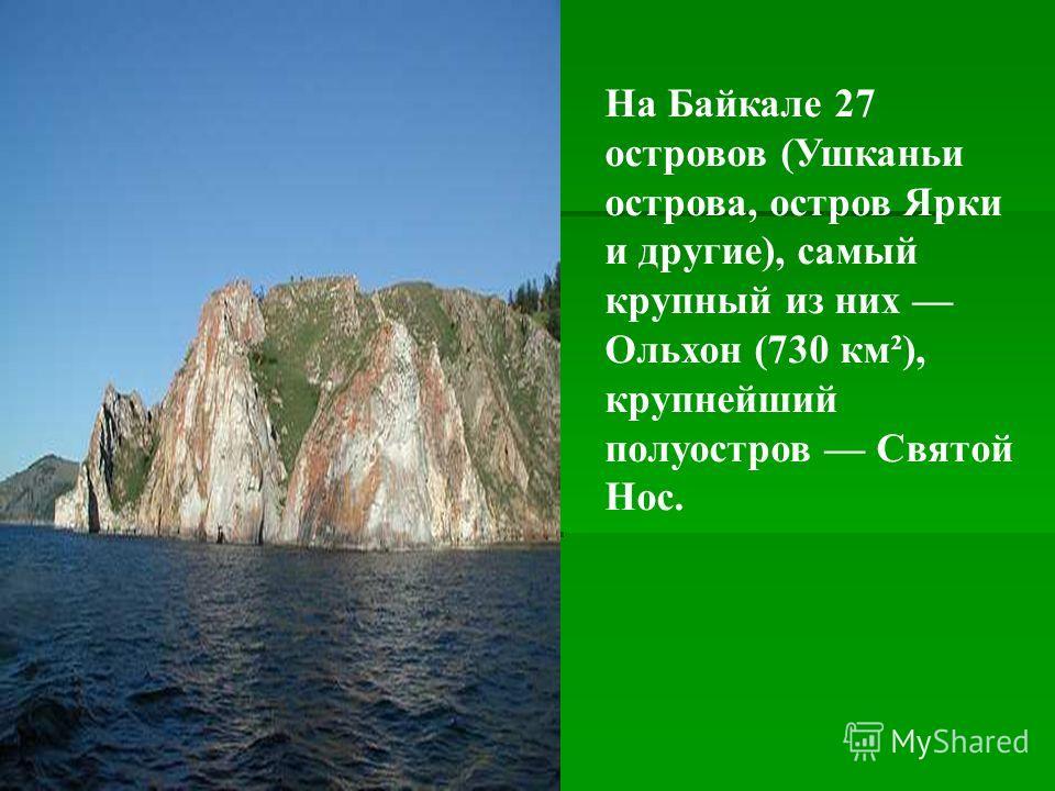 На Байкале 27 островов (Ушканьи острова, остров Ярки и другие), самый крупный из них Ольхон (730 км²), крупнейший полуостров Святой Нос.
