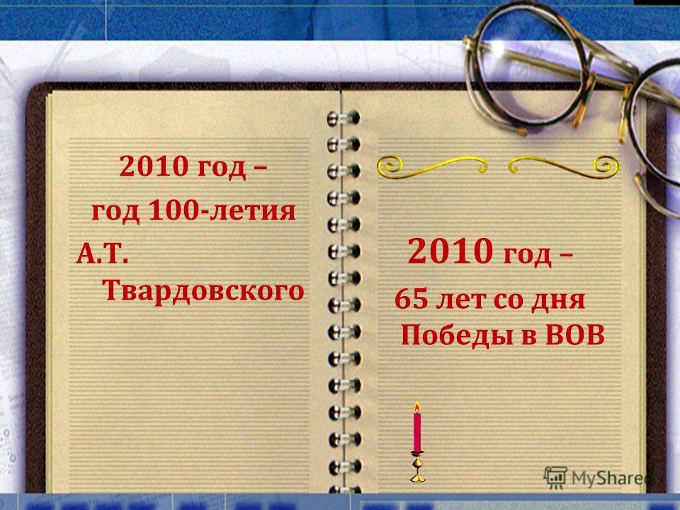 2010 год – 65 лет со дня Победы в ВОВ 2010 год – год 100-летия А.Т. Твардовского