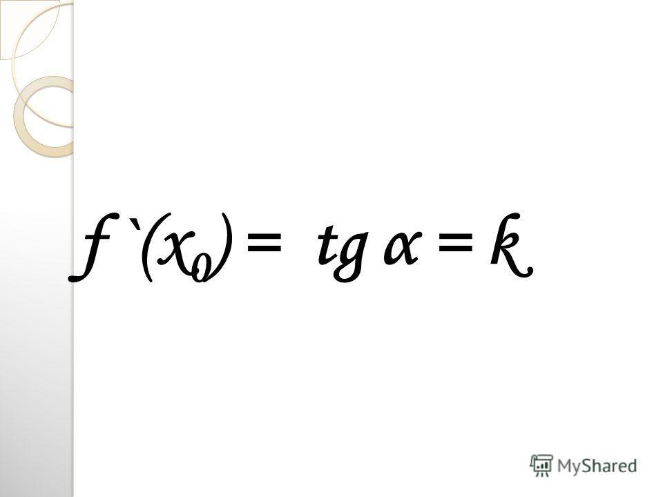 f `(x 0 ) = tg α = k