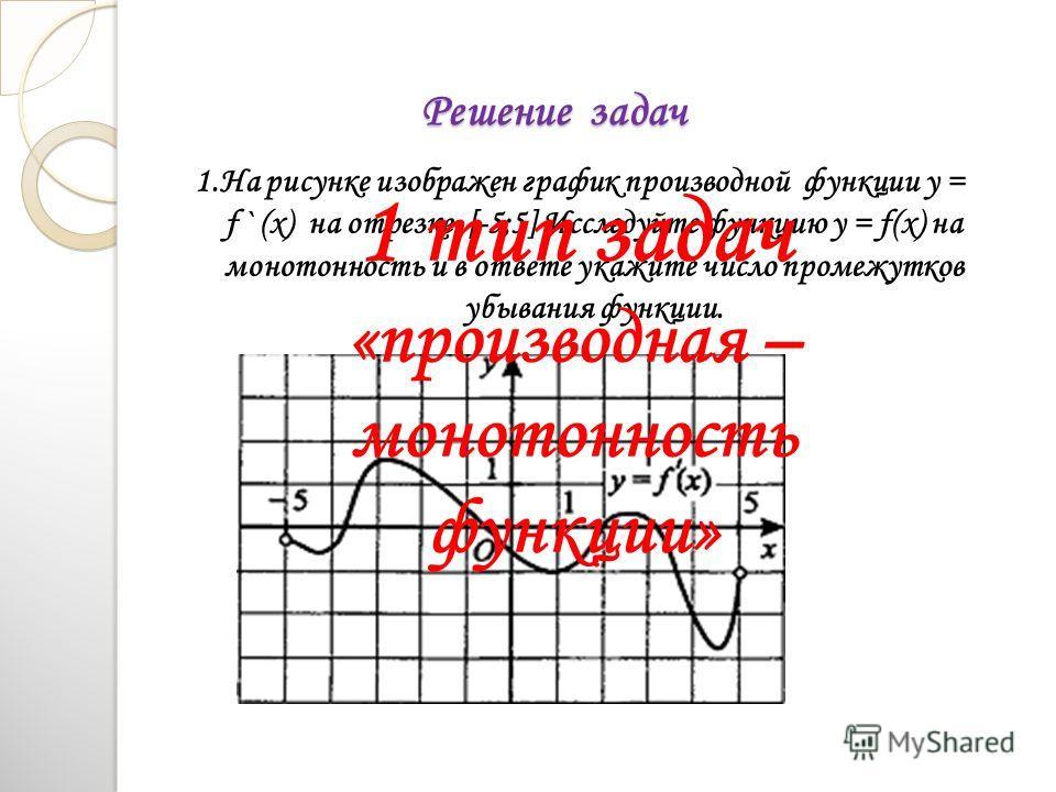 Решение задач 1. На рисунке изображен график производной функции у = f ` (x) на отрезке [-5;5] Исследуйте функцию y = f(x) на монотонность и в ответе укажите число промежутков убывания функции. 1 тип задач «производная – монотонность функции»