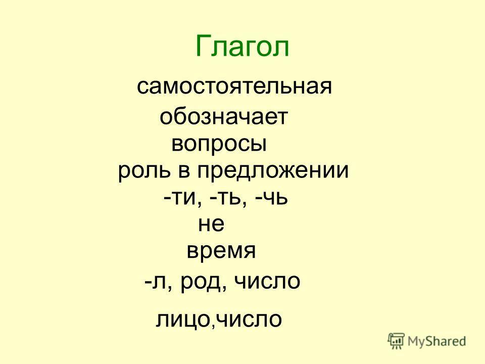 Глагол самостоятельная обозначает вопросы роль в предложении -ти, -ть, -чь не время -л, род, число лицо, число