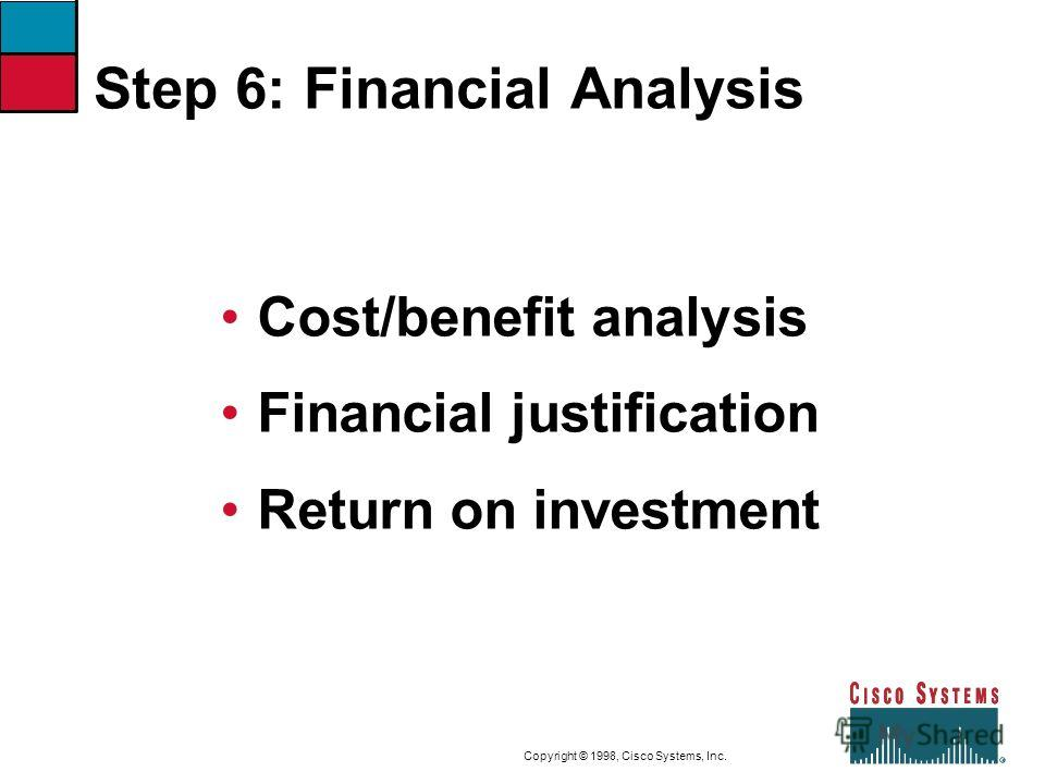 9-27CVOICEConnecting Branch Offices with Voice over Frame Relay, ATM, and IP Copyright © 1998, Cisco Systems, Inc. Step 6: Financial Analysis Cost/benefit analysis Financial justification Return on investment