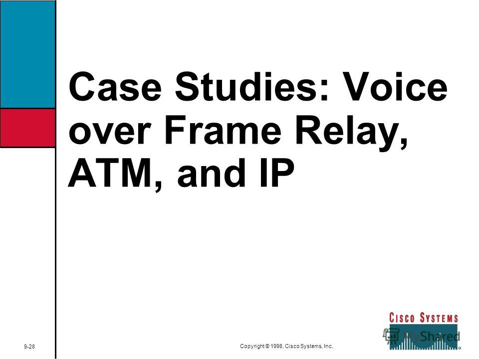 Case Studies: Voice over Frame Relay, ATM, and IP 9-28 Copyright © 1998, Cisco Systems, Inc.