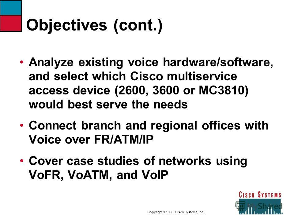 9-3CVOICEConnecting Branch Offices with Voice over Frame Relay, ATM, and IP Copyright © 1998, Cisco Systems, Inc. Objectives (cont.) Analyze existing voice hardware/software, and select which Cisco multiservice access device (2600, 3600 or MC3810) wo