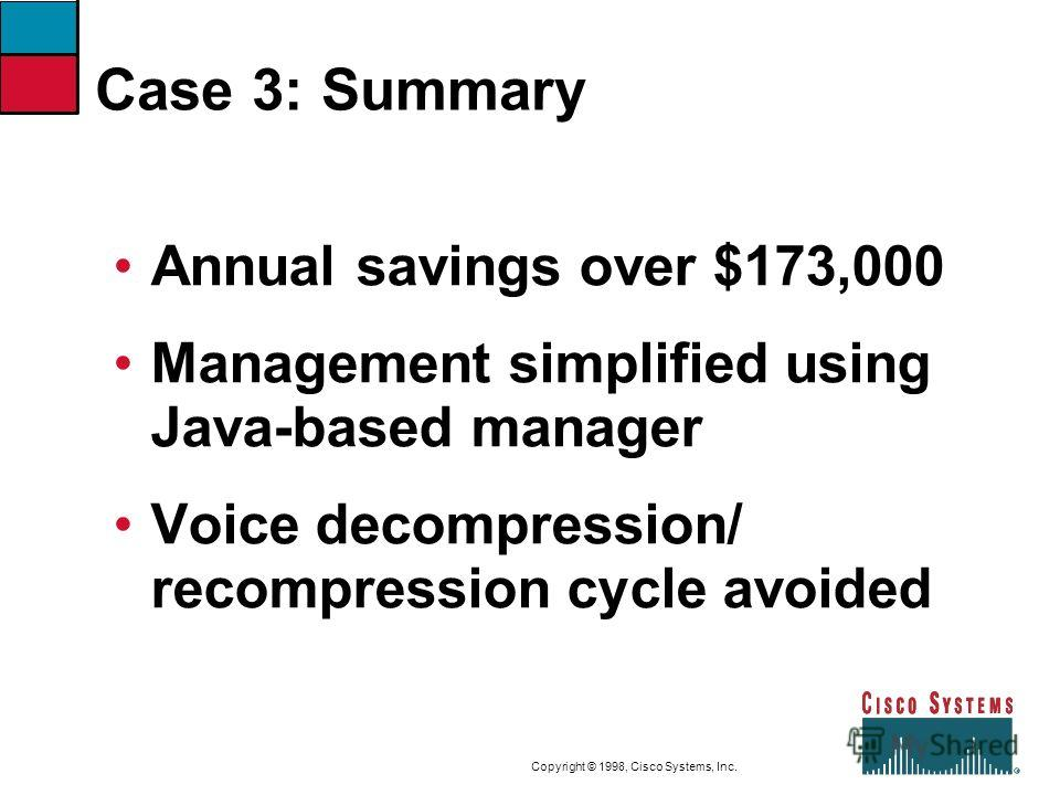 9-50CVOICEConnecting Branch Offices with Voice over Frame Relay, ATM, and IP Copyright © 1998, Cisco Systems, Inc. Case 3: Summary Annual savings over $173,000 Management simplified using Java-based manager Voice decompression/ recompression cycle av