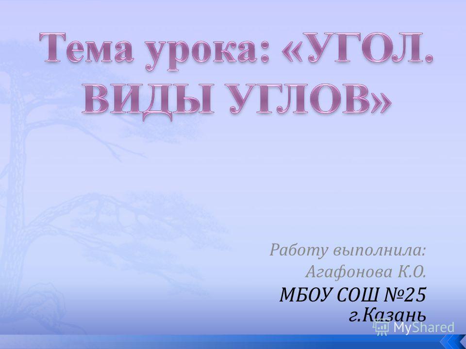 Работу выполнила: Агафонова К.О. МБОУ СОШ 25 г.Казань