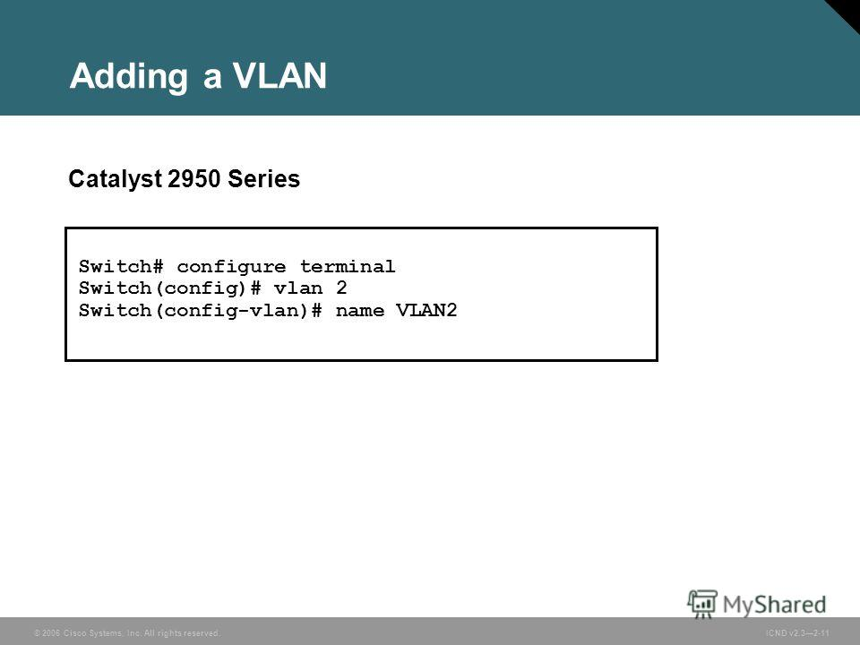 © 2006 Cisco Systems, Inc. All rights reserved. ICND v2.32-11 Adding a VLAN Catalyst 2950 Series Switch# configure terminal Switch(config)# vlan 2 Switch(config-vlan)# name VLAN2