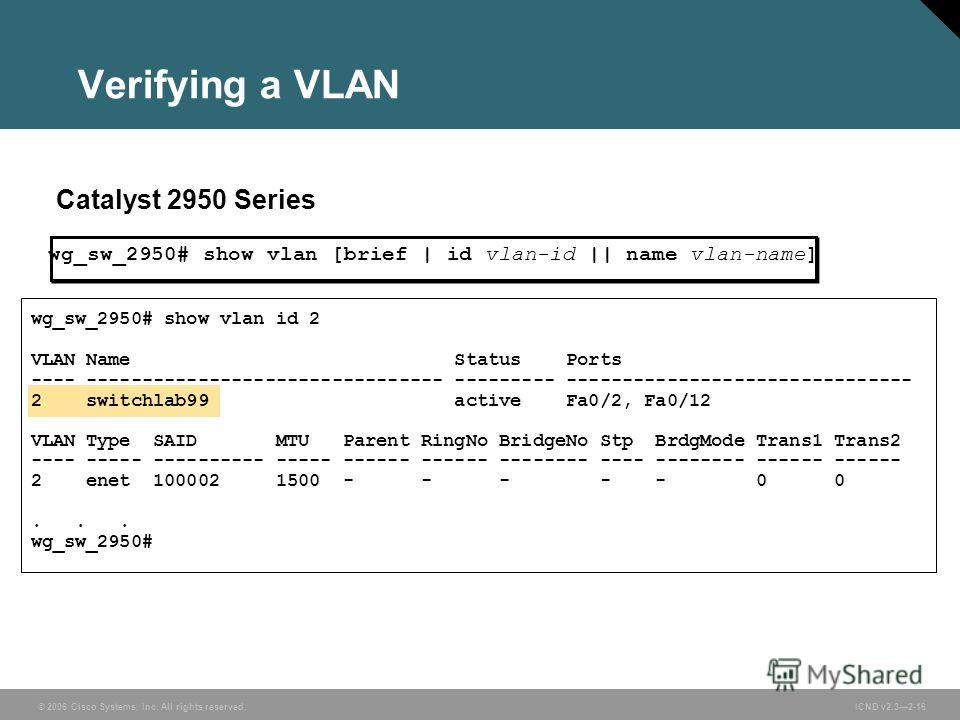 © 2006 Cisco Systems, Inc. All rights reserved. ICND v2.32-16 Verifying a VLAN Catalyst 2950 Series wg_sw_2950# show vlan id 2 VLAN Name Status Ports ---- -------------------------------- --------- ------------------------------- 2 switchlab99 active