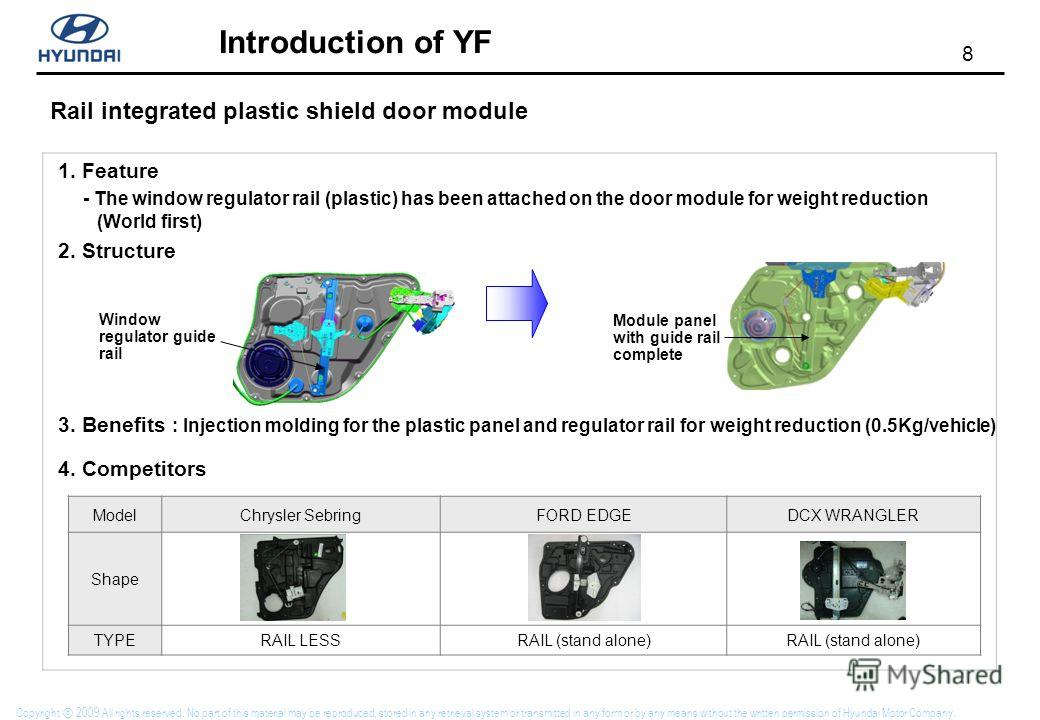 8 Introduction of YF Copyright 2009 All rights reserved. No part of this material may be reproduced, stored in any retrieval system or transmitted in any form or by any means without the written permission of Hyundai Motor Company. Rail integrated pl