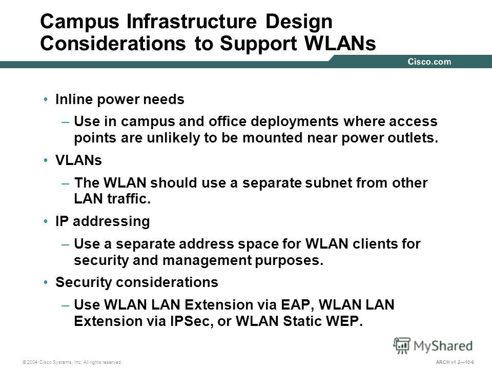 © 2004 Cisco Systems, Inc. All rights reserved. ARCH v1.210-6 Campus Infrastructure Design Considerations to Support WLANs Inline power needs –Use in campus and office deployments where access points are unlikely to be mounted near power outlets. VLA