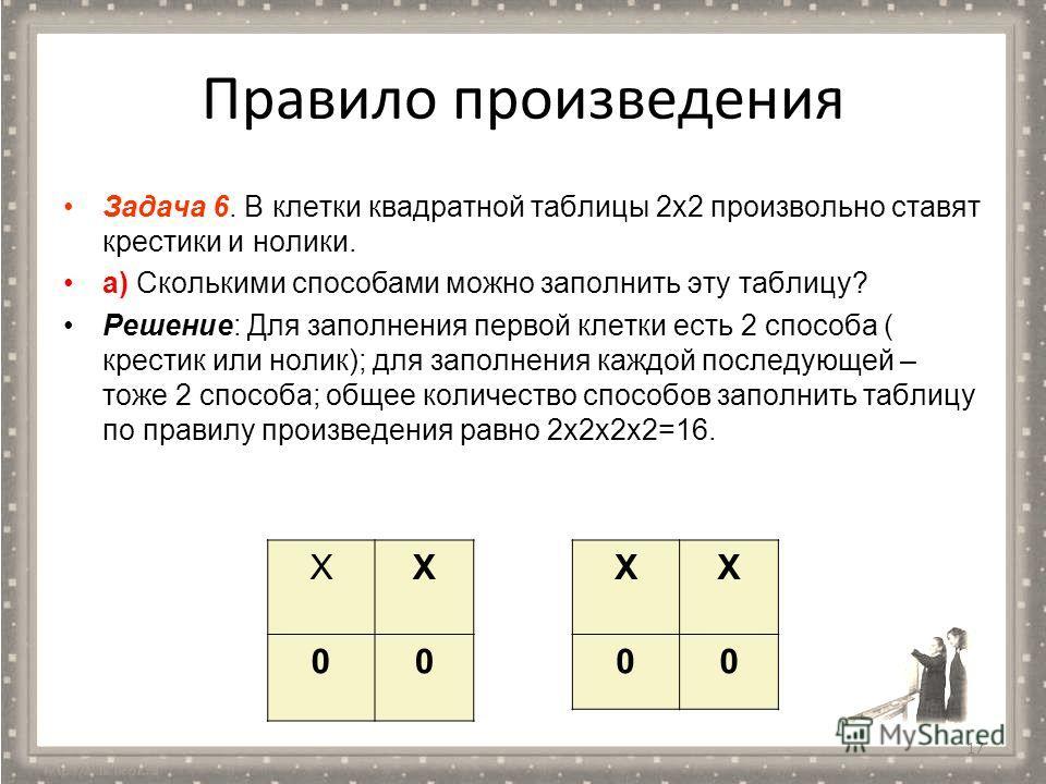 Правило произведения Задача 6. В клетки квадратной таблицы 2 х 2 произвольно ставят крестики и нолики. а) Сколькими способами можно заполнить эту таблицу? Решение: Для заполнения первой клетки есть 2 способа ( крестик или нолик); для заполнения каждо
