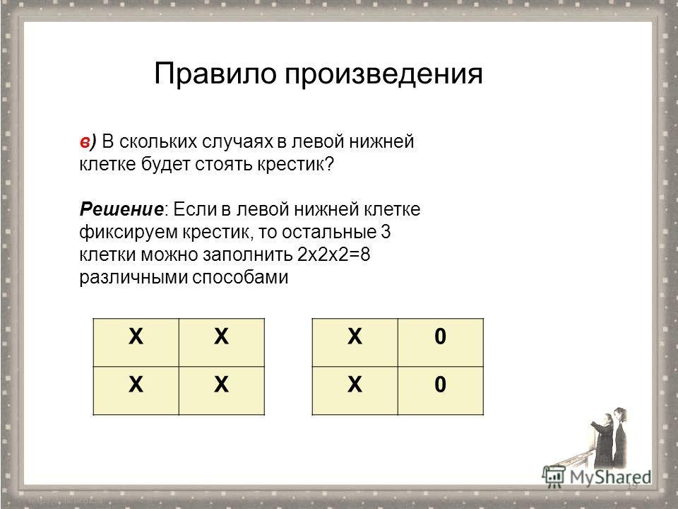 Правило произведения XX XX X0 X0 19 в) В скольких случаях в левой нижней клетке будет стоять крестик? Решение: Если в левой нижней клетке фиксируем крестик, то остальные 3 клетки можно заполнить 2 х 2 х 2=8 различными способами