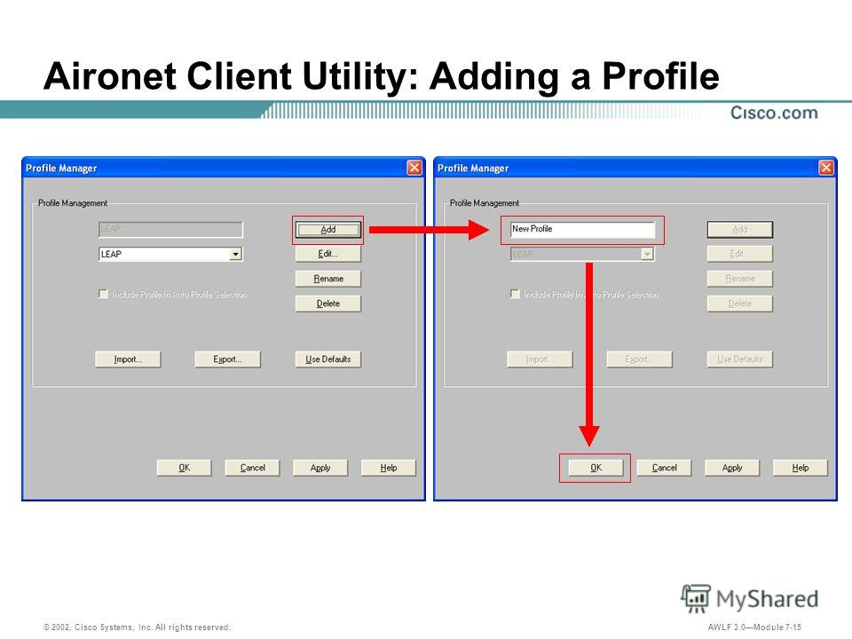 © 2002, Cisco Systems, Inc. All rights reserved. AWLF 3.0Module 7-15 Aironet Client Utility: Adding a Profile