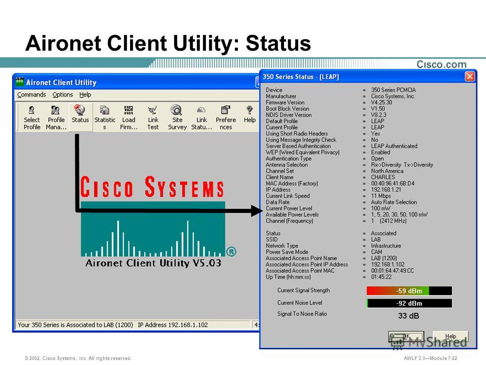 © 2002, Cisco Systems, Inc. All rights reserved. AWLF 3.0Module 7-22 Aironet Client Utility: Status