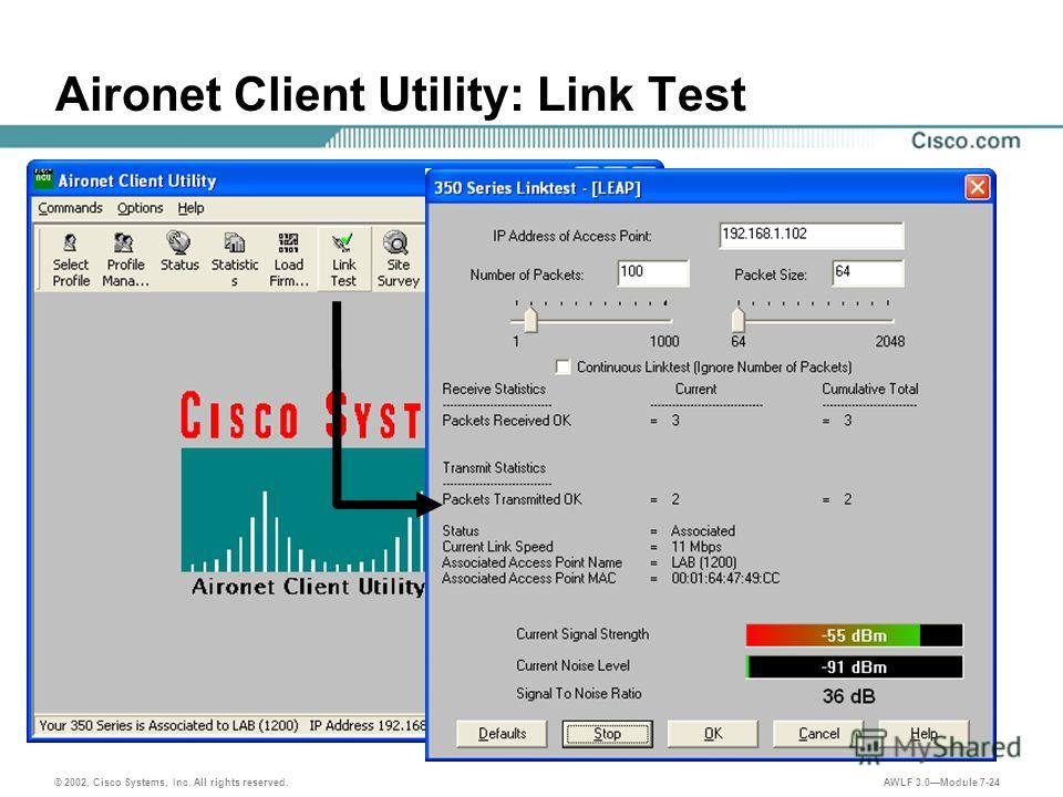 © 2002, Cisco Systems, Inc. All rights reserved. AWLF 3.0Module 7-24 Aironet Client Utility: Link Test