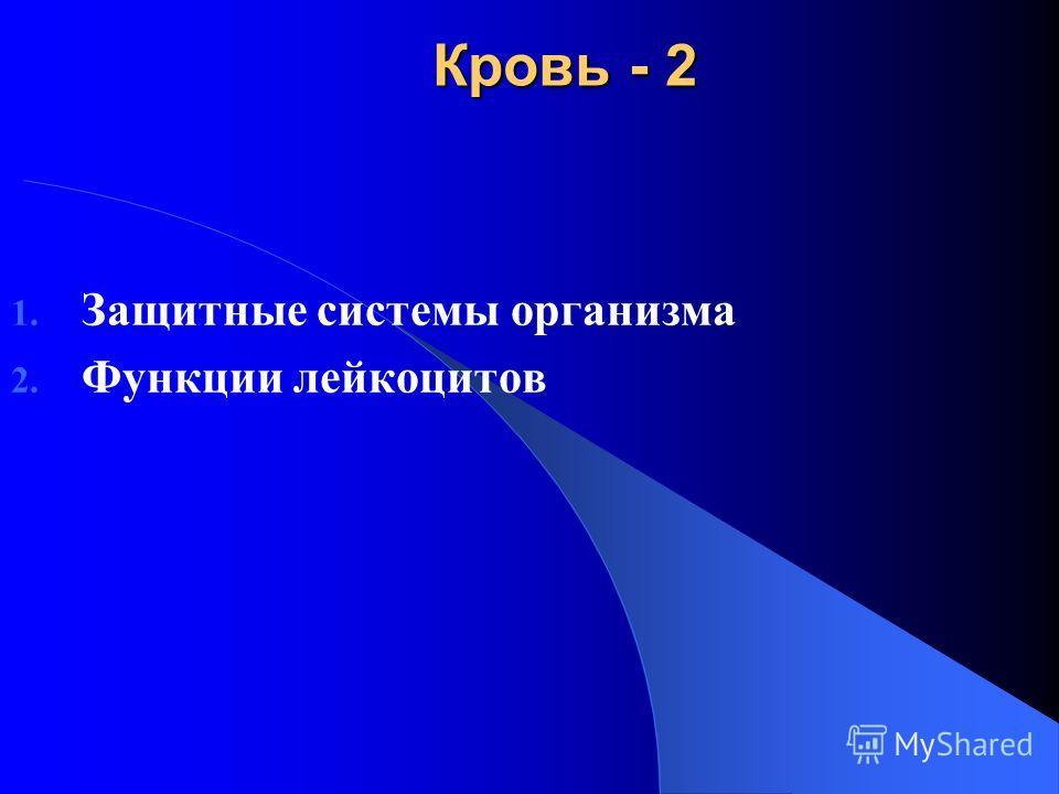 Кровь - 2 1. Защитные системы организма 2. Функции лейкоцитов