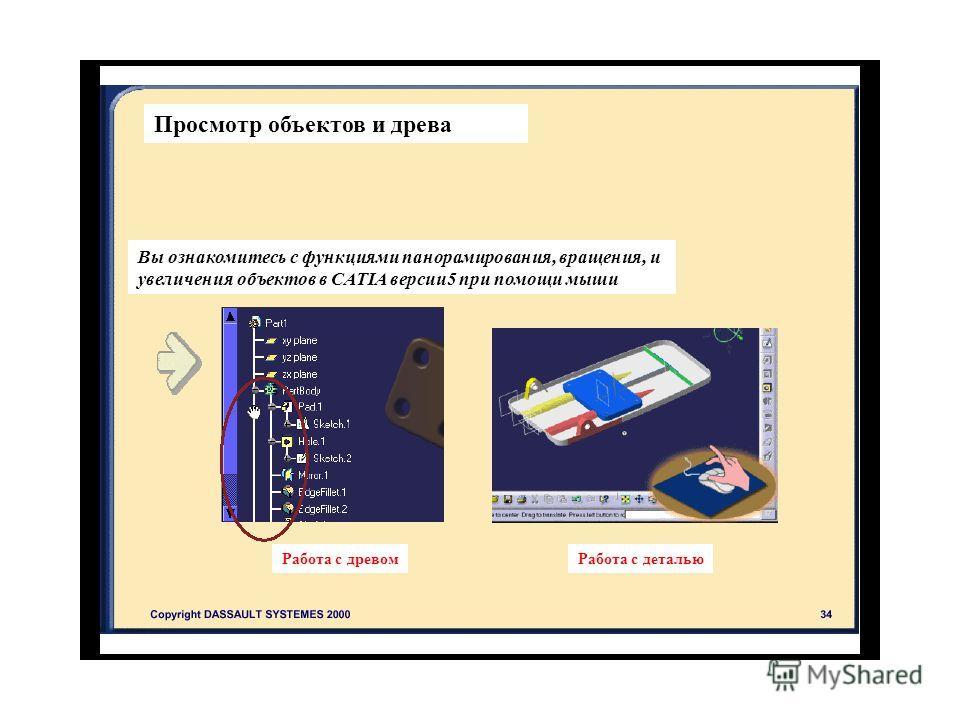 Просмотр объектов и древа Вы ознакомитесь с функциями панорамирования, вращения, и увеличения объектов в CATIA версии 5 при помощи мыши Работа с древом Работа с деталью