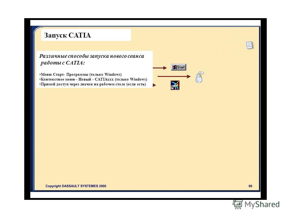 Запуск CATIA Различные способы запуска нового сеанса работы с CATIA: Меню Старт- Программы (только Windows) Контекстное меню - Новый - CATIAxxx (только Windows) Прямой доступ через значок на рабочем столе (если есть)