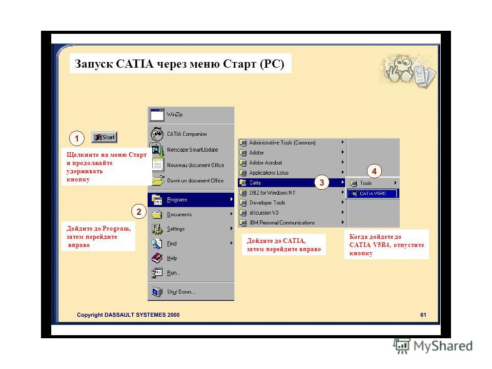 Запуск CATIA через меню Старт (РС) Щелкните на меню Старт и продолжайте удерживать кнопку Дойдите до Program, затем перейдите вправо Дойдите до CATIA, затем перейдите вправо Когда дойдете до CATIA V5R4, отпустите кнопку