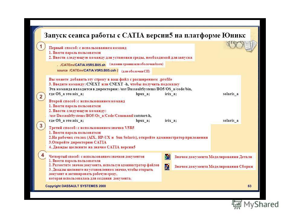 Запуск сеанса работы с CATIA версии 5 на платформе Юникс Первый способ: с использованием команд 1. Ввести пароль пользователя 2. Ввести следующую команду для установки среды, необходимой для запуска (задание границ или оболочки korn) (для оболочки СИ