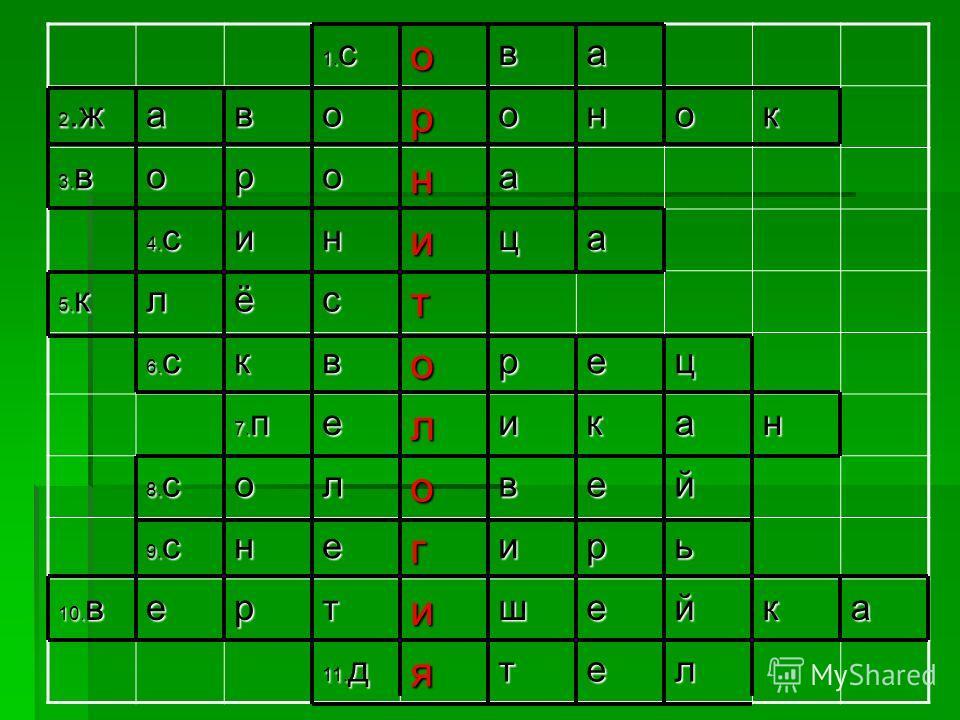 1. с ова 2. ж аворонок 3. в орона 4. с иница 5. к лёст 6. с кворец 7. п еликан 8. с оловей 9. с негирь 10. в ертишейка 11. д ятел