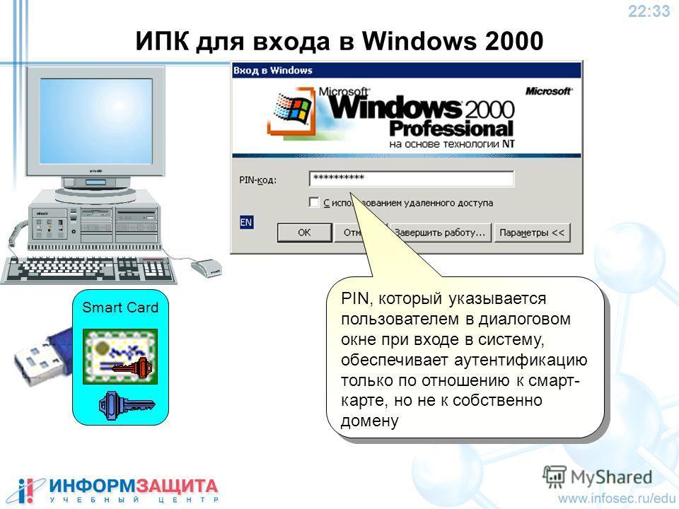 22:34 ИПК для входа в Windows 2000 PIN, который указывается пользователем в диалоговом окне при входе в систему, обеспечивает аутентификацию только по отношению к смарт- карте, но не к собственно домену Smart Card