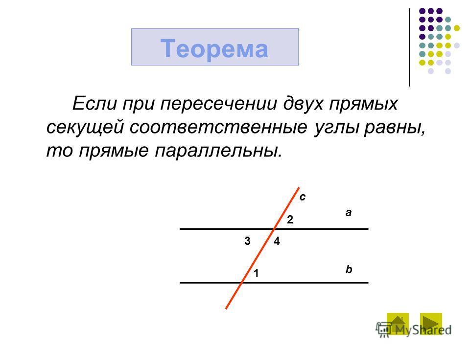Если при пересечении двух прямых секущей соответственные углы равны, то прямые параллельны. Теорема a b c 2 3 4 1