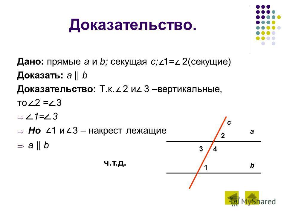 Доказательство. Дано: прямые а и b; секущая с; 1= 2(секущие) Доказать: a || b Доказательство: Т.к. 2 и 3 –вертикальные, то 2 = 3 1= 3 Но 1 и 3 – накрест лежащие a || b a b c 2 3 4 1 ч.т.д.