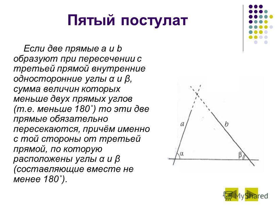 Пятый постулат Если две прямые a и b образуют при пересечении с третьей прямой внутренние односторонние углы α и β, сумма величин которых меньше двух прямых углов (т.е. меньше 180˚) то эти две прямые обязательно пересекаются, причём именно с той стор