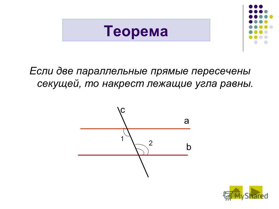 Если две параллельные прямые пересечены секущей, то накрест лежащие угла равны. Теорема a b с 1 2
