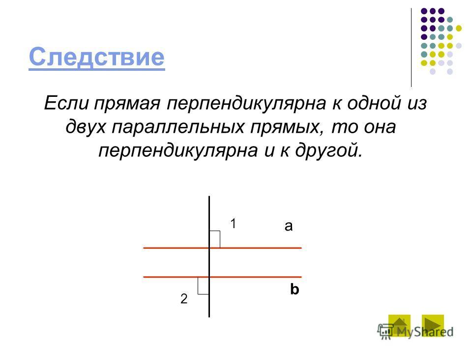 Следствие Если прямая перпендикулярна к одной из двух параллельных прямых, то она перпендикулярна и к другой. a b 1 2