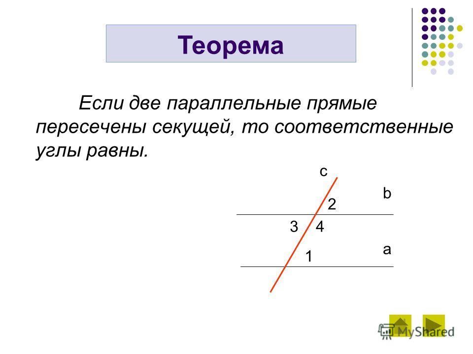Если две параллельные прямые пересечены секущей, то соответственные углы равны. Теорема b a c 2 3 4 1