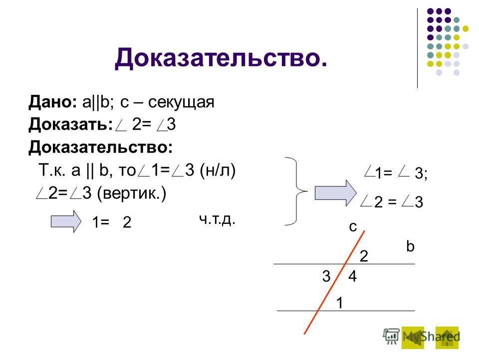Доказательство. Дано: a||b; c – секущая Доказать: 2= 3 Доказательство: Т.к. a || b, то 1= 3 (н/л) 2= 3 (вертик.) b c 2 3 4 1 1= 3; 2 = 3 1= 2 ч.т.д.
