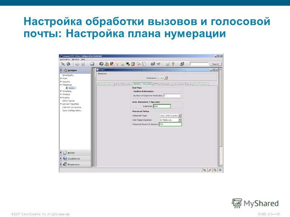 © 2007 Cisco Systems, Inc. All rights reserved. SMBE v2.01-61 Настройка обработки вызовов и голосовой почты: Настройка плана нумерации