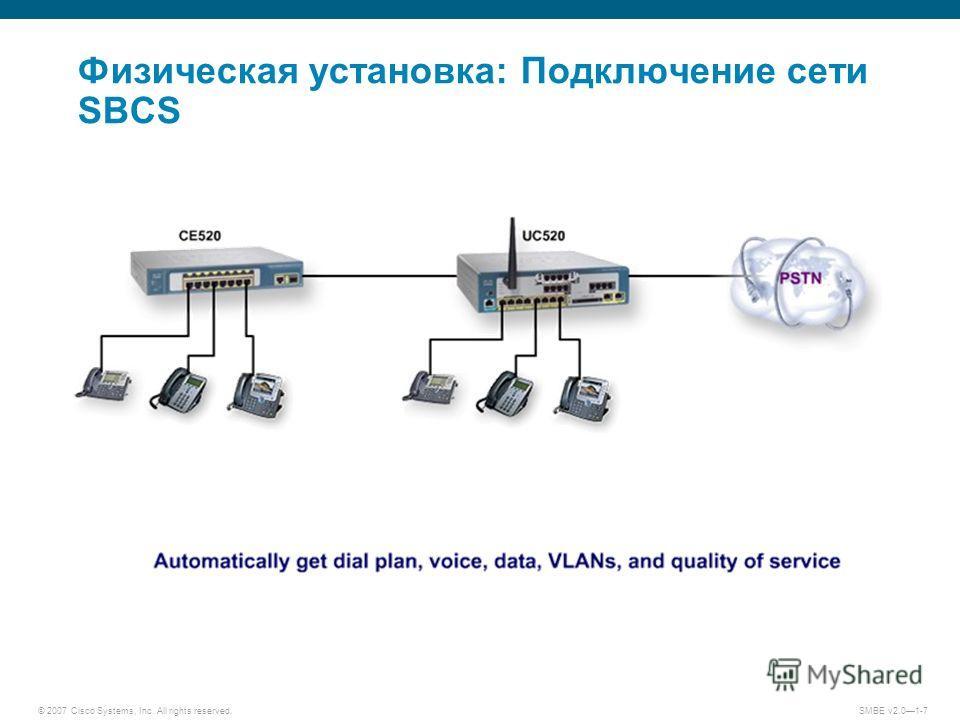 © 2007 Cisco Systems, Inc. All rights reserved. SMBE v2.01-7 Физическая установка: Подключение сети SBCS