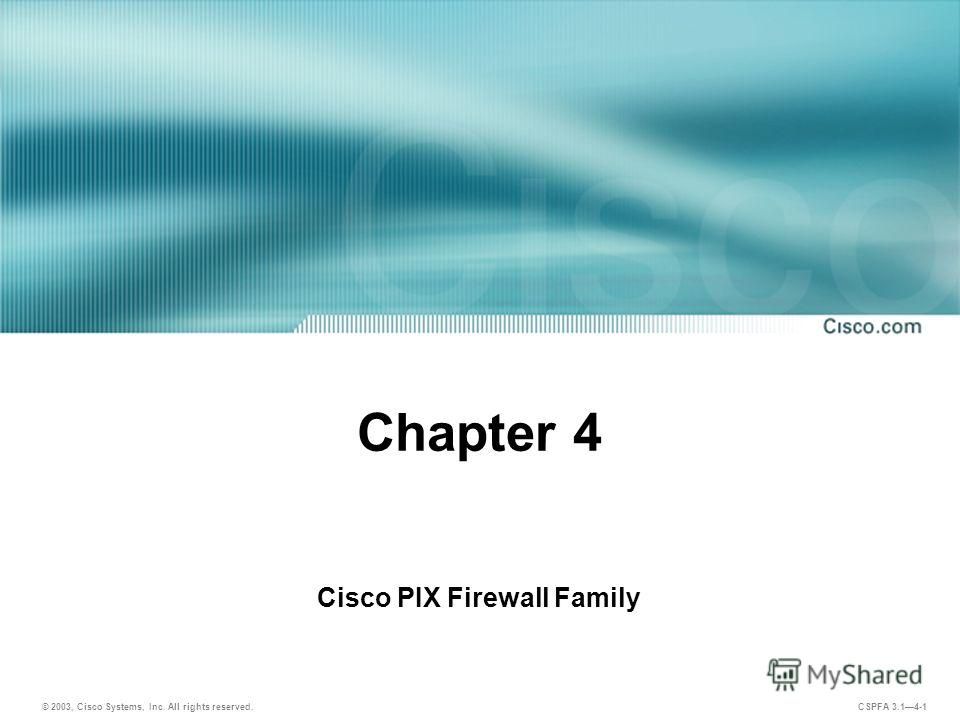 © 2003, Cisco Systems, Inc. All rights reserved. CSPFA 3.14-1 Chapter 4 Cisco PIX Firewall Family