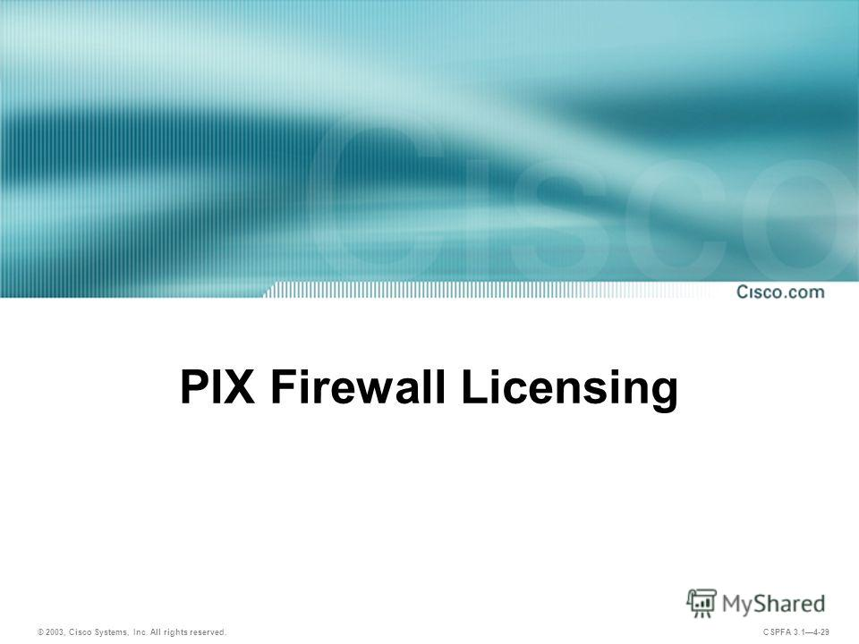 © 2003, Cisco Systems, Inc. All rights reserved. CSPFA 3.14-29 PIX Firewall Licensing