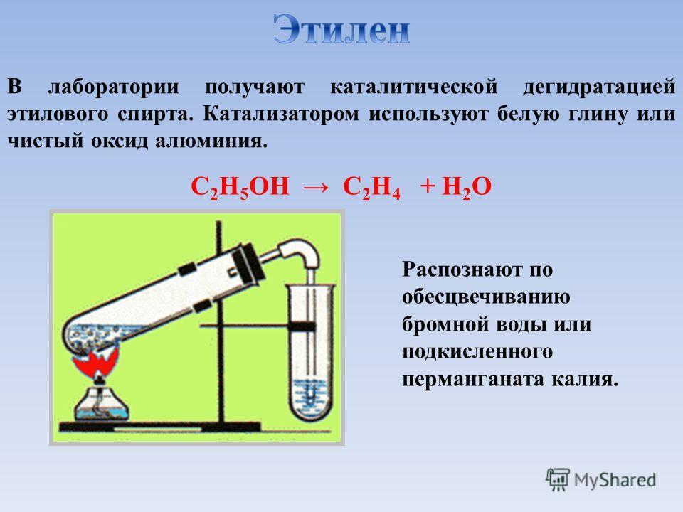 В лаборатории получают каталитической дегидратацией этилового спирта. Катализатором используют белую глину или чистый оксид алюминия. C 2 H 5 OH C 2 H 4 + H 2 O Распознают по обесцвечиванию бромной воды или подкисленного перманганата калия.