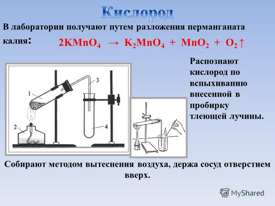 В лаборатории получают путем разложения перманганата калия : Собирают методом вытеснения воздуха, держа сосуд отверстием вверх. Распознают кислород по вспыхиванию внесенной в пробирку тлеющей лучины. 2KMnO 4 K 2 MnO 4 + MnO 2 + O 2