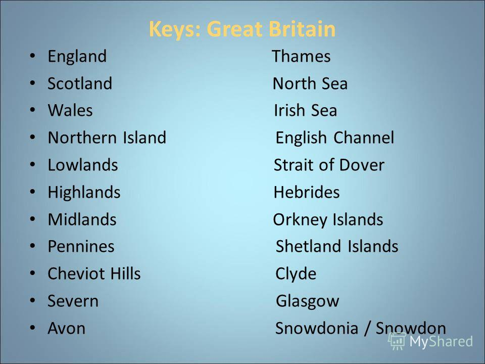 Keys: Great Britain England Thames Scotland North Sea Wales Irish Sea Northern Island English Channel Lowlands Strait of Dover Highlands Hebrides Midlands Orkney Islands Pennines Shetland Islands Cheviot Hills Clyde Severn Glasgow Avon Snowdonia / Sn