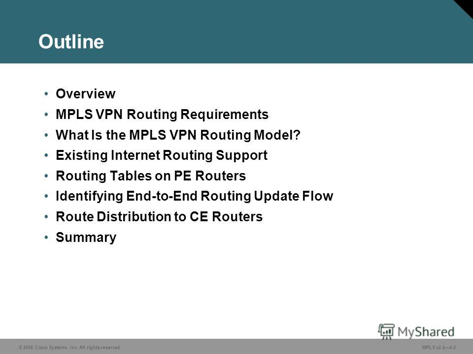 © 2006 Cisco Systems, Inc. All rights reserved. MPLS v2.24-2 Outline Overview MPLS VPN Routing Requirements What Is the MPLS VPN Routing Model? Existing Internet Routing Support Routing Tables on PE Routers Identifying End-to-End Routing Update Flow