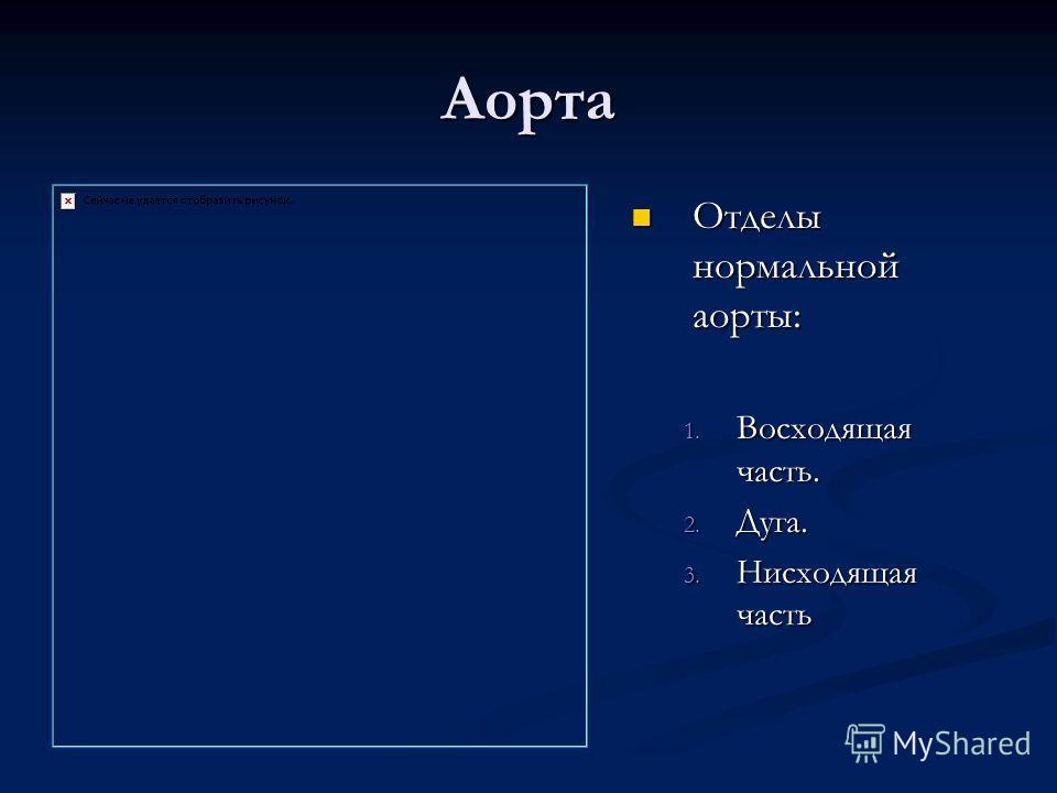 Аорта Отделы нормальной аорты: 1. Восходящая часть. 2. Дуга. 3. Нисходящая часть