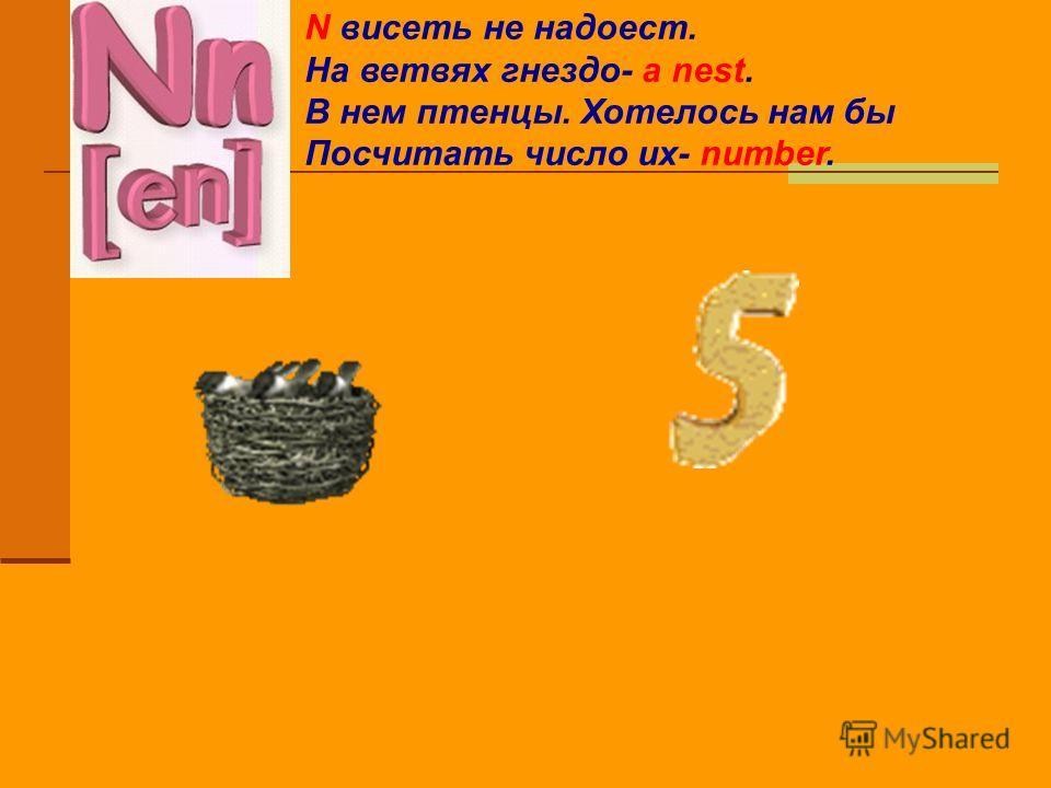 N висеть не надоест. На ветвях гнездо- a nest. В нем птенцы. Хотелось нам бы Посчитать число их- number.
