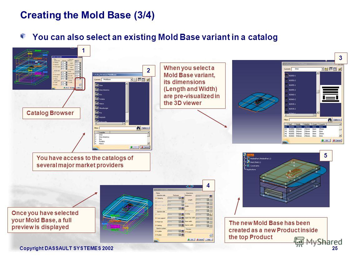 Copyright DASSAULT SYSTEMES 200225 Creating the Mold Base (3/4) You can also select an existing Mold Base variant in a catalog You have access to the catalogs of several major market providers When you select a Mold Base variant, its dimensions (Leng