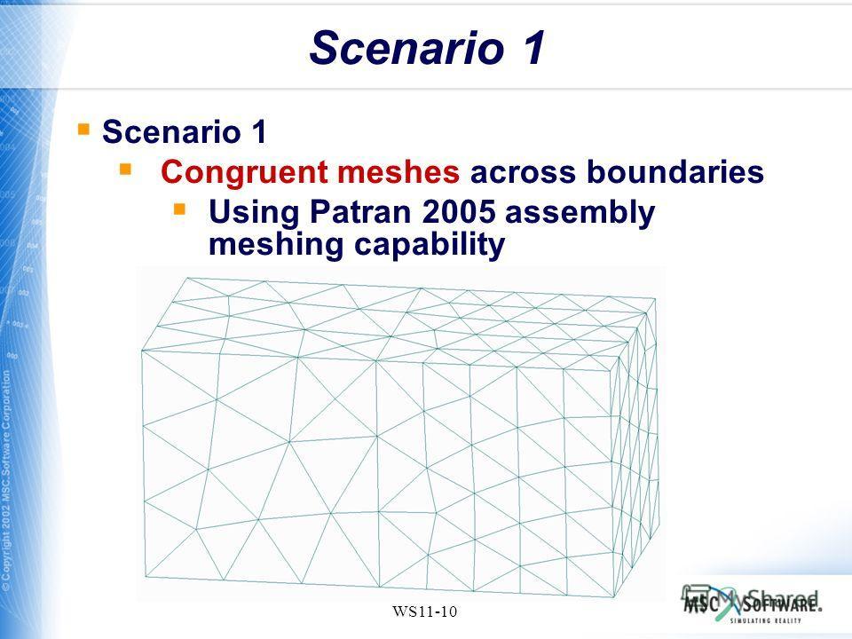 WS11-10 Scenario 1 Congruent meshes across boundaries Using Patran 2005 assembly meshing capability