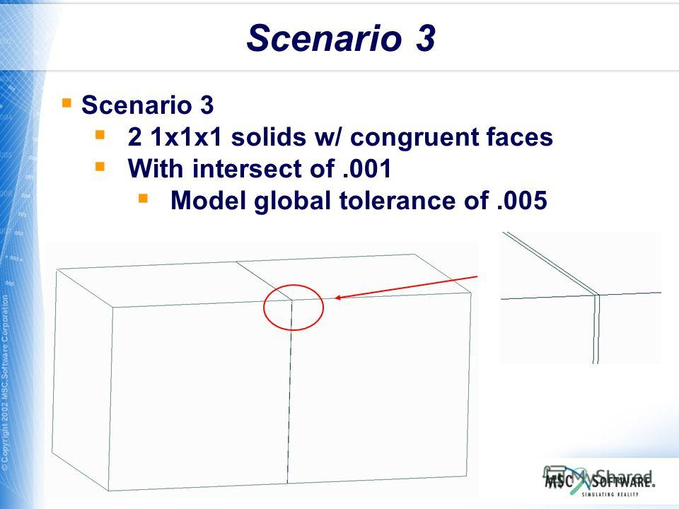 WS11-13 Scenario 3 2 1x1x1 solids w/ congruent faces With intersect of.001 Model global tolerance of.005