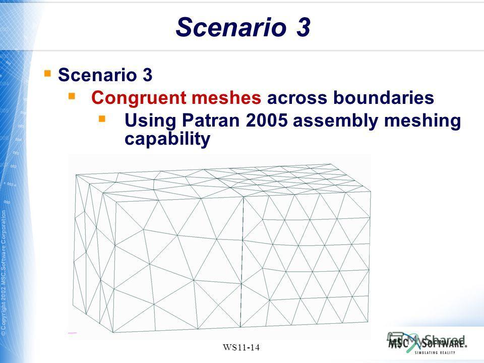 WS11-14 Scenario 3 Congruent meshes across boundaries Using Patran 2005 assembly meshing capability